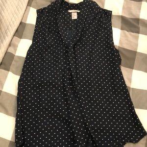 H&M polka dot tie neck blouse